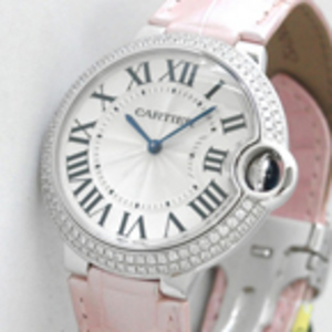 Replica Cartier Ballon Bleu Diamanten rosa Leder Midsize WE900651